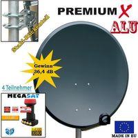 Antenne 60cm Sat Schüssel aus ALU FullHD HDTV Satelliten Camping Spiegel 60 cm Anthrazit + Megasat Quad LNB 0,1dB – Bild 2