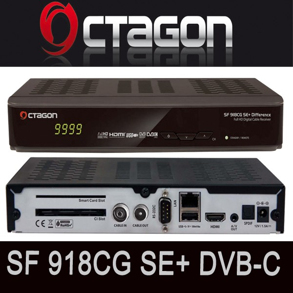OCTAGON SF918CG SE+ CI+ DVB-C Full HD Difference Kabel Receiver Cable USB LAN CI+