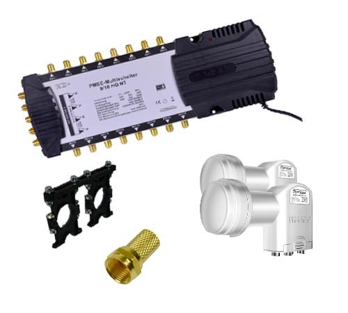 Multischalter PMSE 9/16 mit Netzteil Digital + 2x Quattro Opticum 0,1dB LNB + Multifeedhalter 2-Fach universall + 48 F-Stecker vergoldet