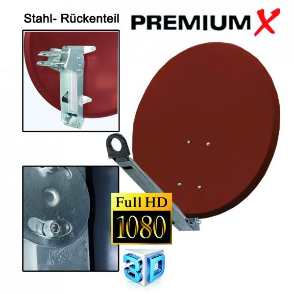 PremiumX XTA85 Satellitenantenne 85 cm Aluminium Ziegelrot