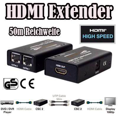 Converter CSC 2 HDMI Netzwerk Cat5 Cat6 Extender LAN 50m Reichweite HDMI V1.3b