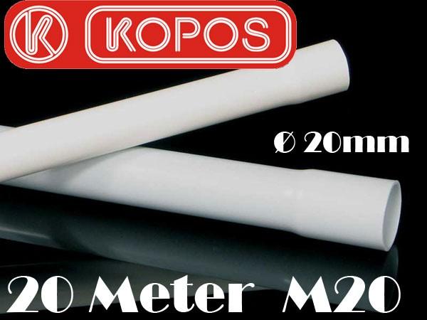 20m Kopos M20 20mm Elektrorohr Stangenrohr Leerrohr Elektrokabel-Rohr gemufft Hellgrau PVC