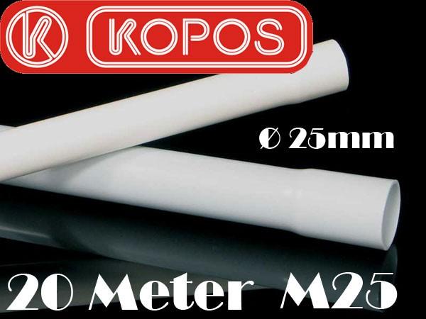 20m M25 25mm Kopos Elektrorohr Stangenrohr Leerrohr Elektrokabel-Rohr gemufft hellgrau PVC NEU