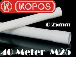 40m M25 25mm Kopos Elektrorohr Stangenrohr Leerrohr Elektrokabel-Rohr gemufft hellgrau PVC NEU – Bild 2