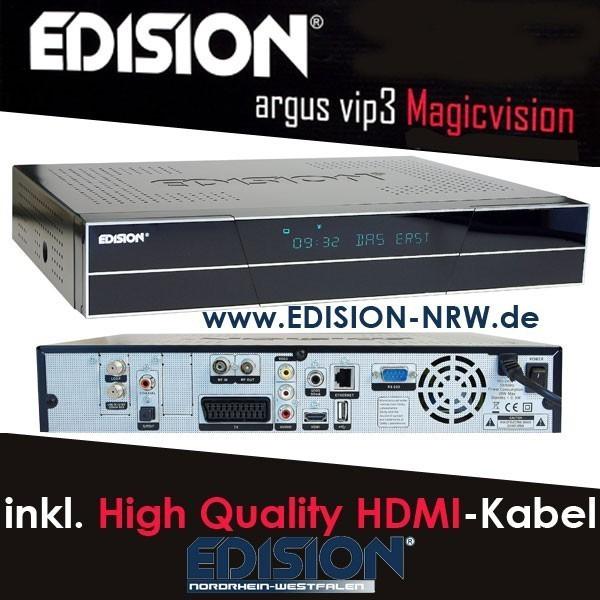 Edision Argus VIP 3 Magicvision Digital HDTV Twin Combo /DVB-C/DVB-T Receiver 2x DVB-C2/DVB-T2 Hybrid Tuner eingebaut NEU