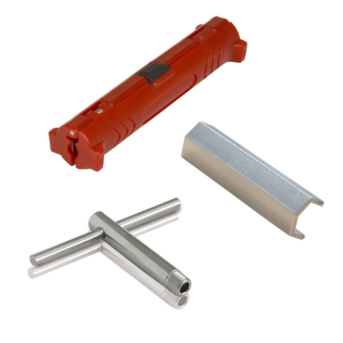 PremiumX SAT-Montage-Set Abisolierer für Koaxialkabel + F-Knebel + Aufdrehhilfe / Montageschlüssel für F-Stecker