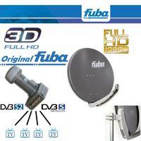 Antenne Fuba 74x84 cm Alu Anthrazit DAA 780 A + Fuba DEK 416 Quad LNB Quattro-Switch FuLLHD 3D NEU – Bild 1