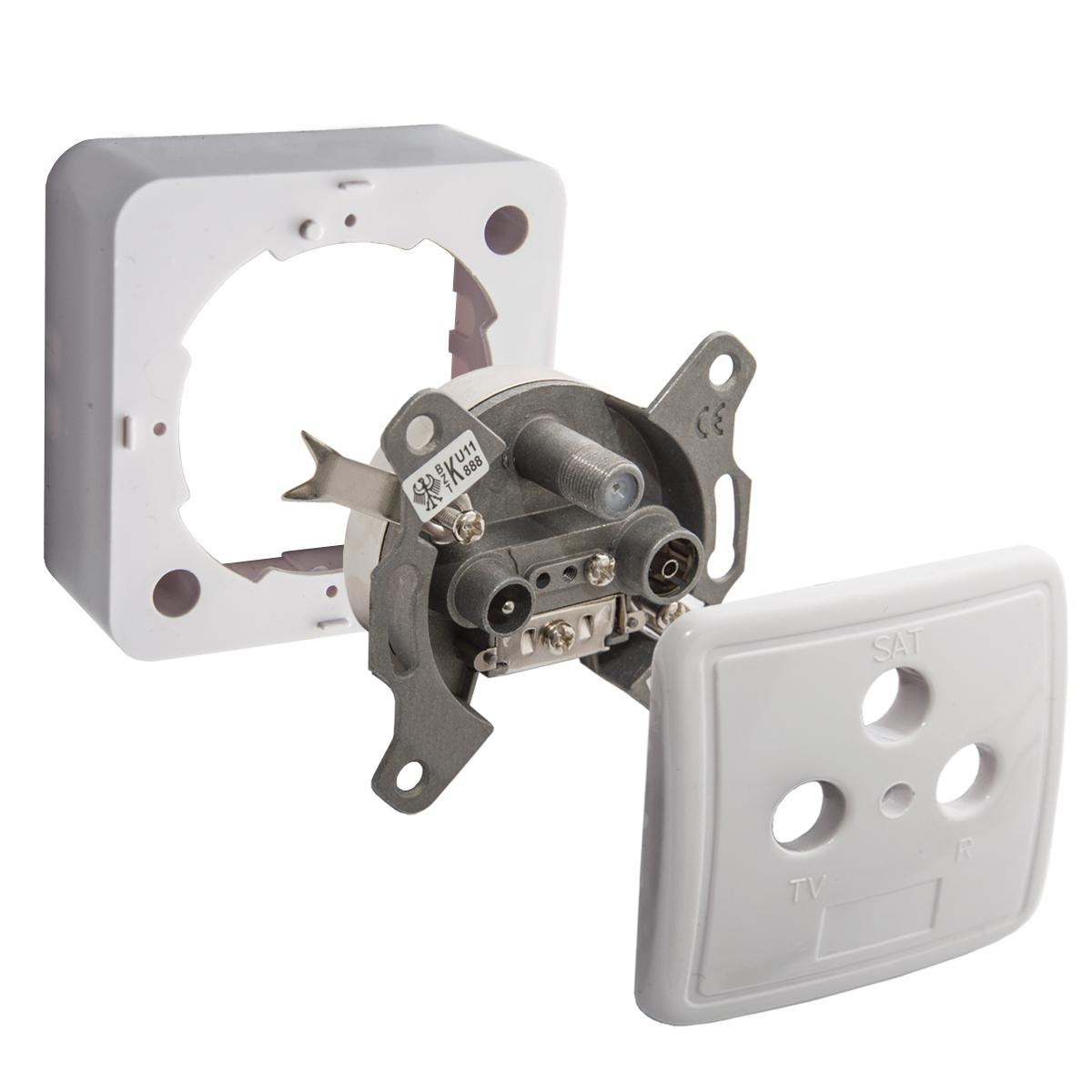5x PremiumX Sat Dose 3-Fach Enddose Antennendose Einzel und Stichleitungsdose Antennen Auf und Unterputz FULLHD Digital 3D