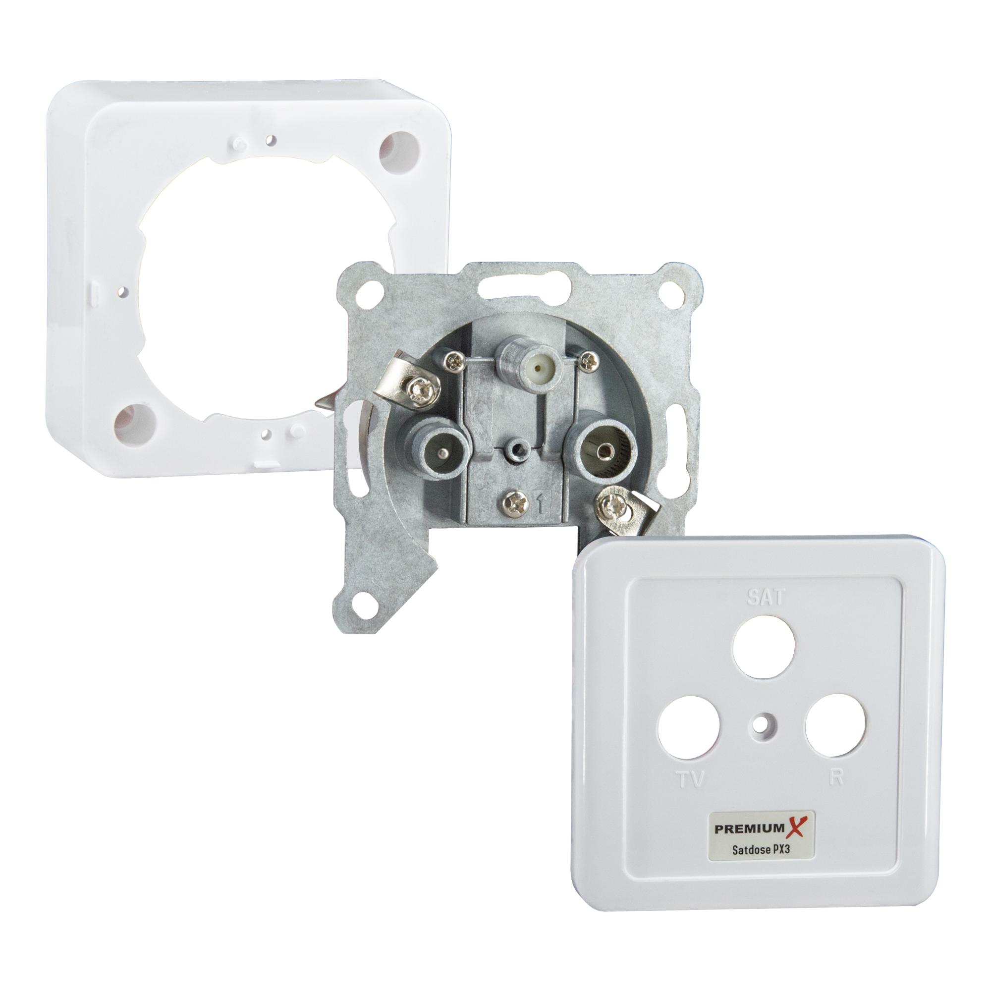 15x PremiumX Sat Dose 3-Fach Enddose Antennendose Einzel und Stichleitungsdose Antennen Auf und Unterputz FULLHD Digital 3D