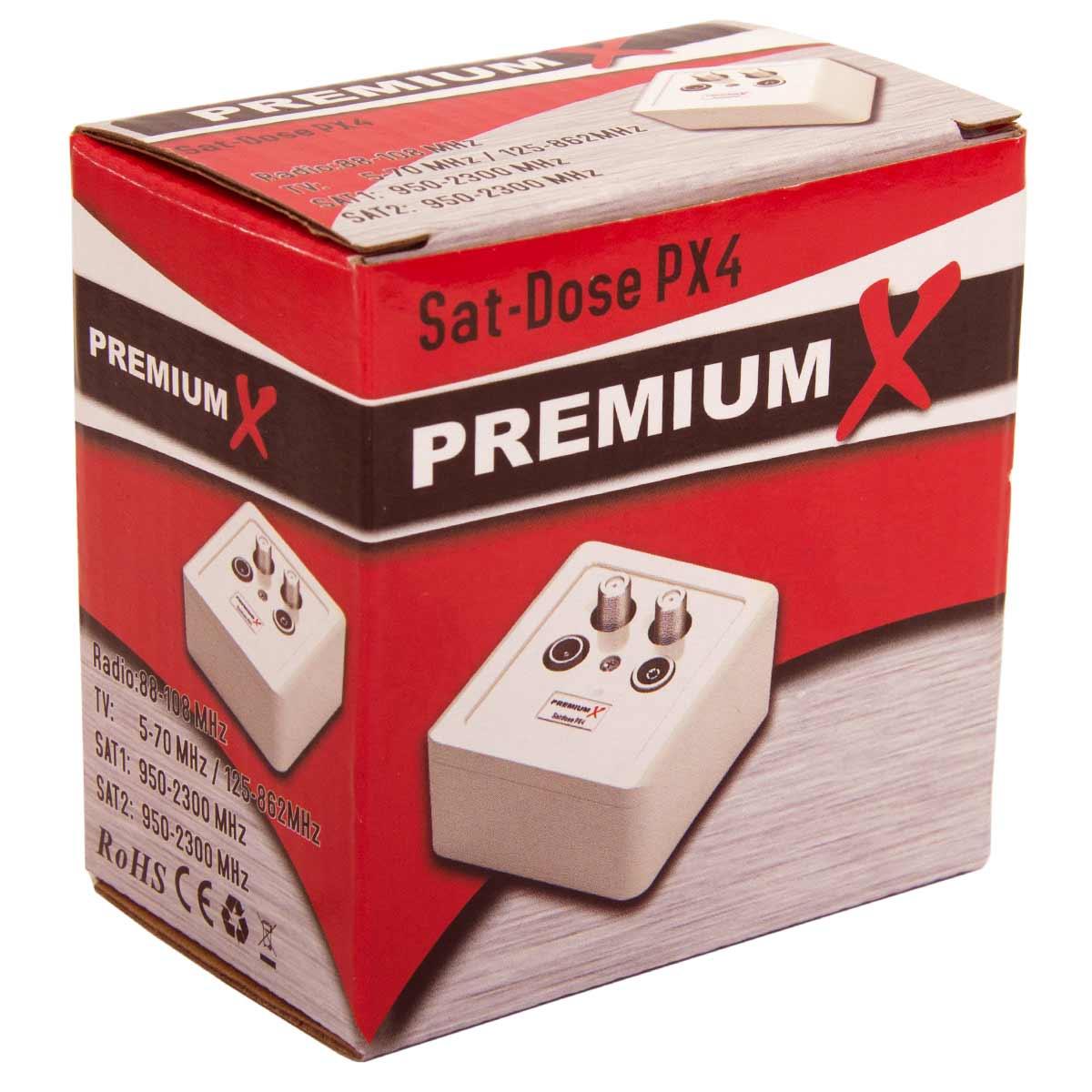 15x PremiumX PX-4 Sat Dose 4 Fach Enddose TWIN Antennendose CLASS A 2x Sat, 1x Radio, 1xTV DIGITAL FULLHD 3D