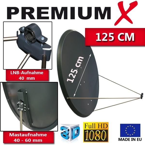 PremiumX PXS125 Satellitenantenne 125 cm Stahl Anthrazit