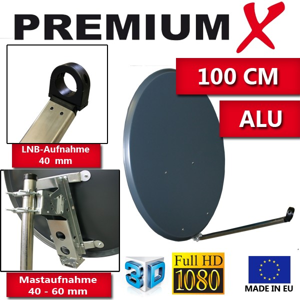 premiumx xta100 satellitenantenne 100 cm aluminium anthrazit sat antennen 100 cm antennen aus alu. Black Bedroom Furniture Sets. Home Design Ideas