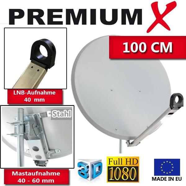 PremiumX XTA100 Satellitenantenne 100 cm Aluminium Hellgrau