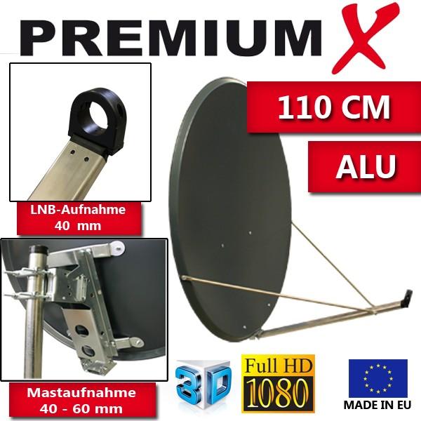 PremiumX XTA110 Satellitenantenne 110 cm Aluminium Anthrazit