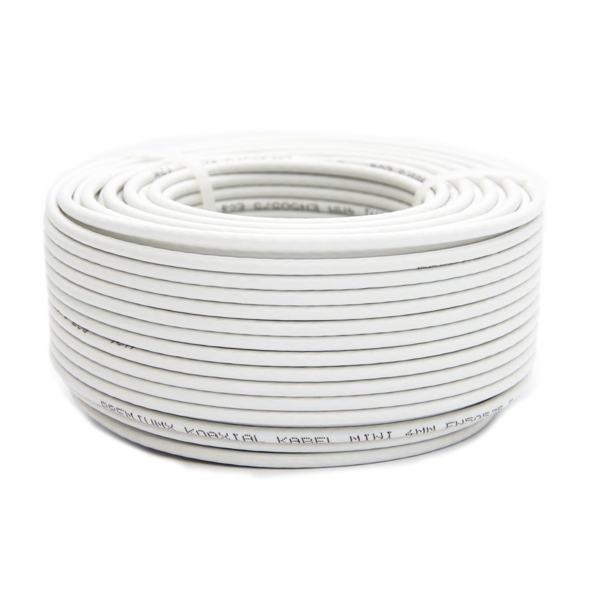 25m PremiumX Mini Koaxial Sat Kabel 4mm extra dünn Weiß Koax Antennenkabel 2-fach geschirmt für Sat | Kabel | DVB-T – Ultra HD 4K 3D