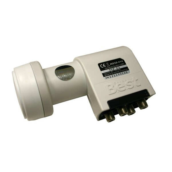 LNB Quattro 0,1 dB Best Germany LNB für Multischalter FULLHD HDTV 3D Digital tauglich + 4x F-Stecker 7mm vergoldet