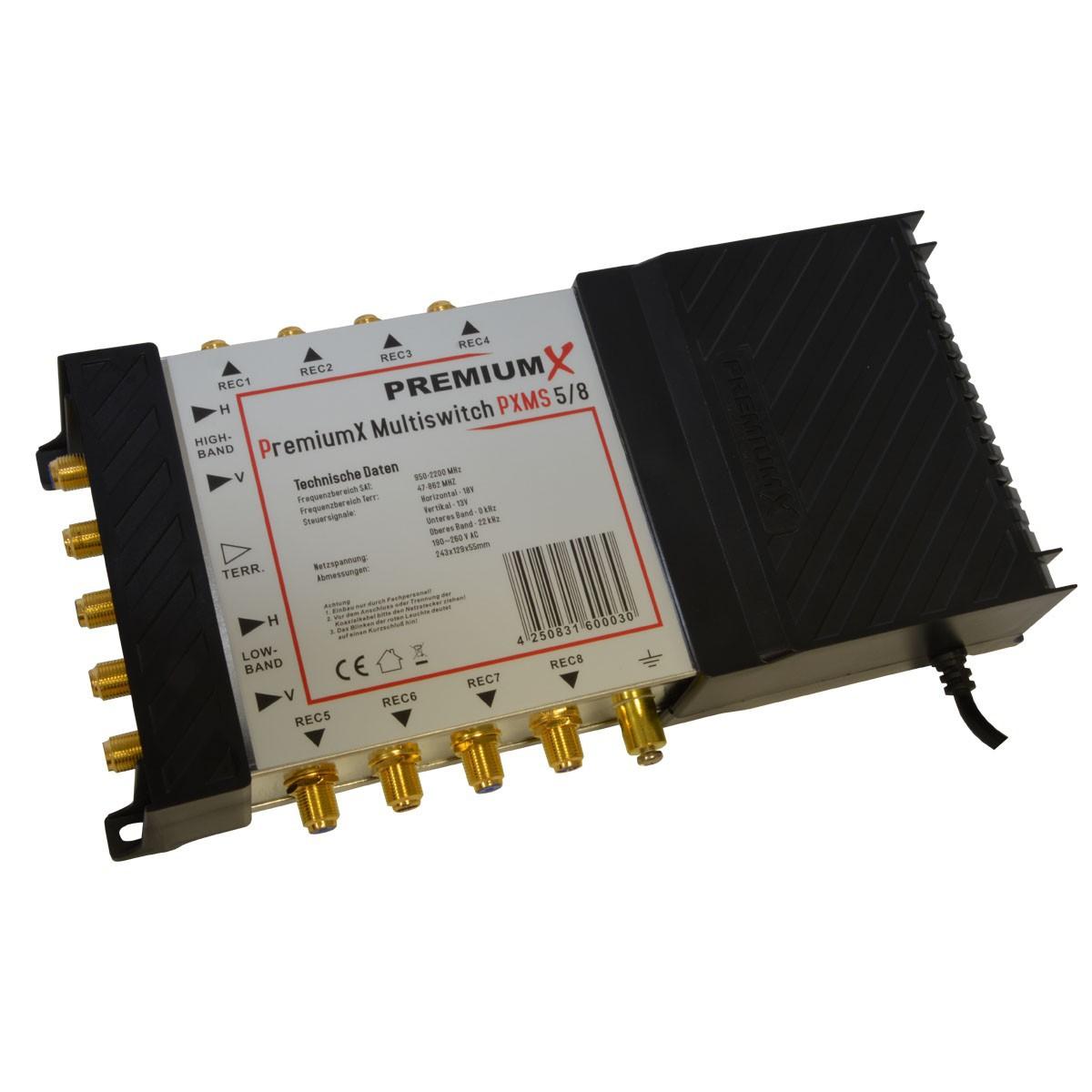 Multischalter PremiumX PXMS-5/8 Multiswitch 5/8 mit Netzteil + Octagon Optima OQLO Quattro LNB 0,1dB Verstärkung 65dB , 1x SAT für 8 Teilnehmer TOP