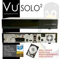 VU+ Solo² Twin Linux HD Satelliten-Receiver Solo 2 (DVB-S2, PVR-Ready, HDMI, 1080p, SCART, 3x USB) inkl. 2TB 2000GB Festplatte schwarz