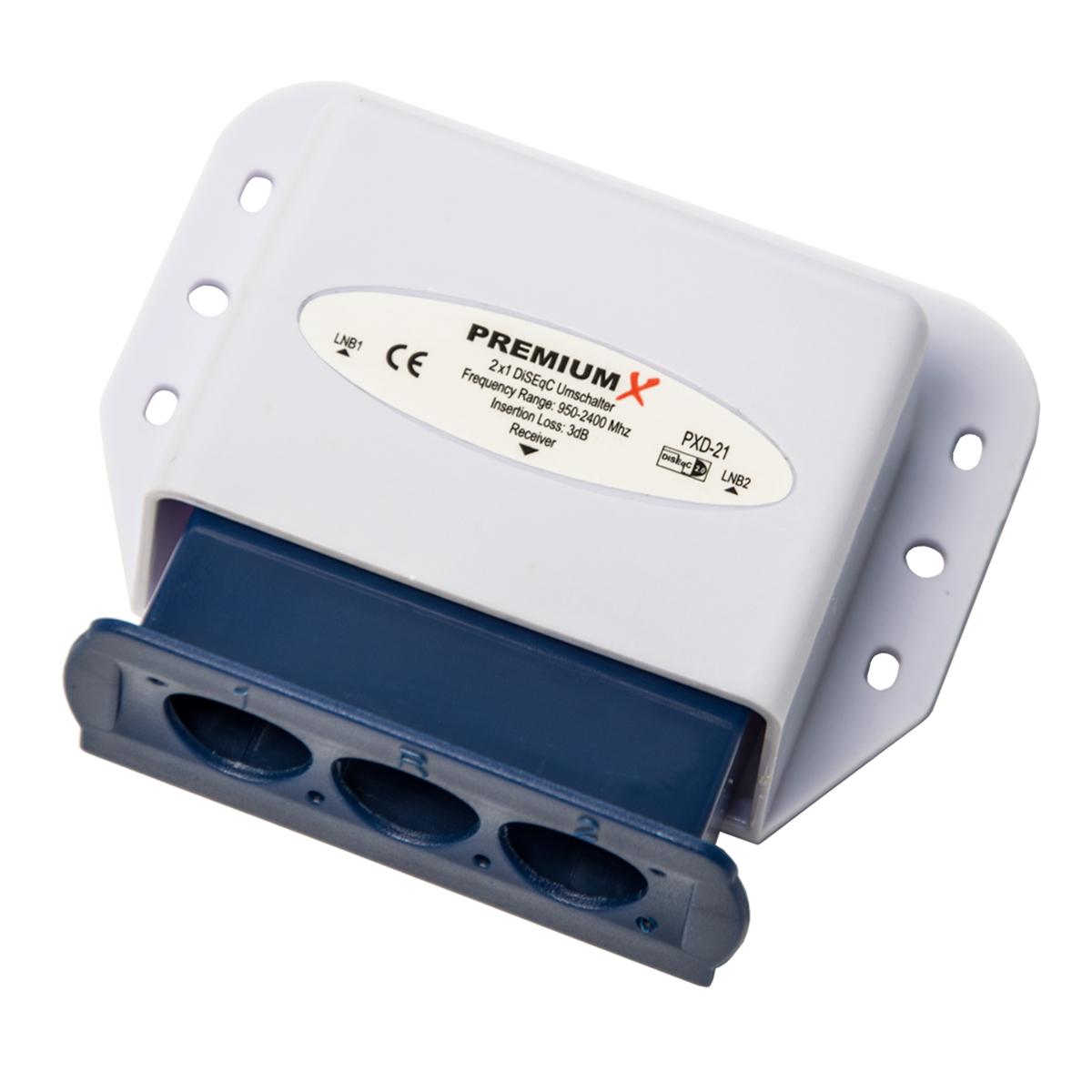 2x PremiumX PXD-21 DiSEqC Schalter 2/1 SAT Umschalter 2.0 Switch Diseq C mit Wetterschutzgehäuse DVB-S/ DVB_S2 SAT DIGITAL FullHD 3D und HDTV