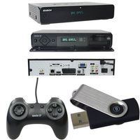 Edision Apache IP DVB-S2 Receiver + Game USB Controller + USB Stick - 600 Spiele