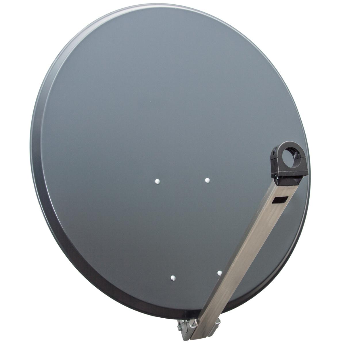 PremiumX XTS Antenne 85cm Stahl SAT Schüssel Spiegel Anthrazit mit LNB Octo 0,1 dB zum Direktanschluss von 8 Teilnehmern Digital HDTV FullHD 3D tauglich + 16x F-Stecker vergoldet