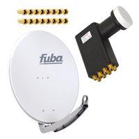 Antenne Fuba 74x84 cm Alu Grau DAA 780 G mit LNB Octo 0,1 dB PremiumX PXO zum Direktanschluss von 8 Teilnehmern Digital HDTV FullHD 3D tauglich inkl. 16 F-Stecker vergoldet – Bild 1