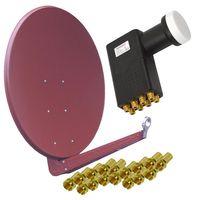 Gibertini 100cm SE Profi Serie Aluminium Ziegelrot SAT Antenne mit PremiumX Octo LNB 0,1dB für 8 Teilnehmer inkl. 16x F-Stecker