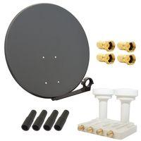 Digital SAT Anlage PremiumX 80 cm Schüssel Spiegel Antenne in Anthrazit + Quad Monoblock LNB für Astra und Hotbird 0,1dB FULLHD 3D TV für 4 Teilnehmer + 4 F-Stecker 7mm vergoldet + 4 Gummitüllen