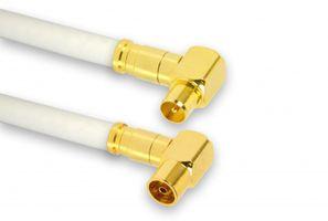 25m PremiumX TV Antennenkabel Digital Innenleiter REINES KUPFER mit vergoldeten Kompressionsstecker TV-GM1-90 (90° männlich) + TV-GF1-90 (90° weiblich) | PREMIUM HDTV Kabel | Koaxialkabel | Stecker zu Buchse Fernsehkabel