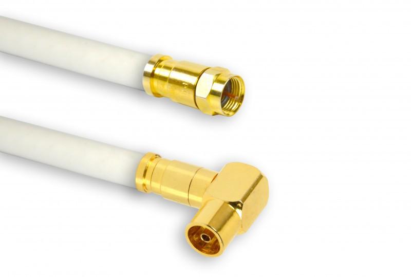 3m PremiumX TV Antennenkabel Digital Innenleiter REINES KUPFER mit vergoldeten Kompressionsstecker TV-GF1-90 (90° weiblich) + XCon G1 F-Stecker   PREMIUM HDTV Kabel   Koaxialkabel   Koax Winkel Stecker zu F-Stecker