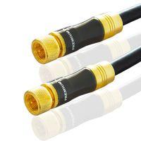 5m PremiumX Gold-Line SAT Antennenkabel Schwarz 135dB REINES KUPFER Metallgehäuse vergoldete Kontakte