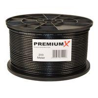 200m PremiumX Mini Koaxial Sat Kabel 4mm extra dünn Schwarz Koax Antennenkabel 2-fach geschirmt für Sat | Kabel | DVB-T – Ultra HD 4K 3D
