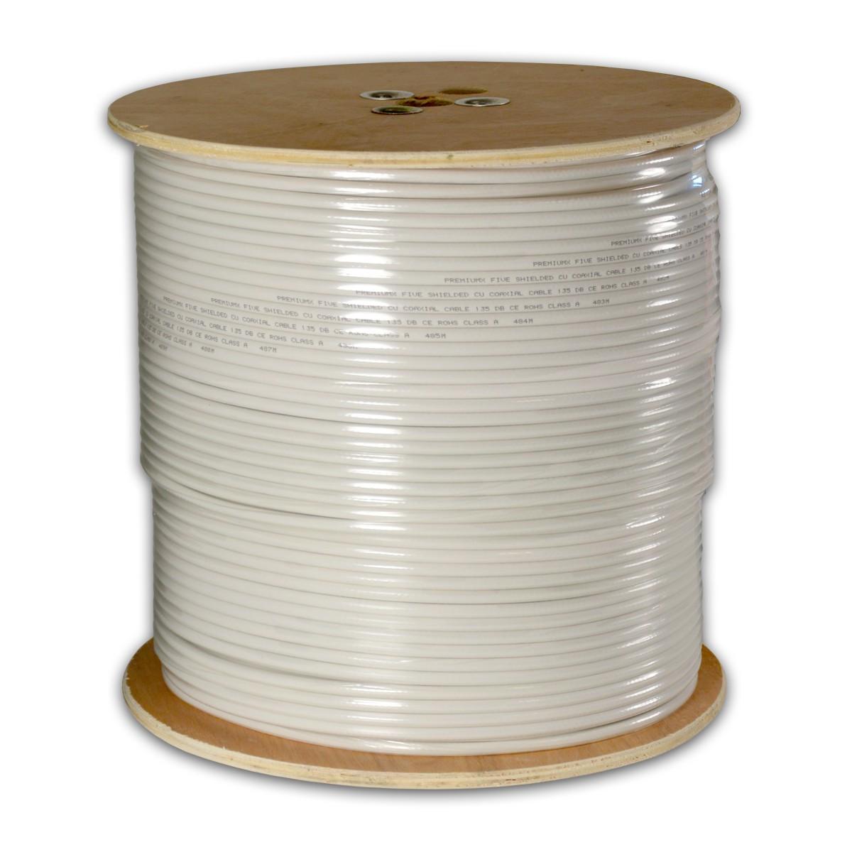 500m PremiumX DELUXE PRO Koaxial Kabel 135 dB 5-Fach geschirmt, REINES KUPFER SAT Antennenkabel 500 m 135 120 110