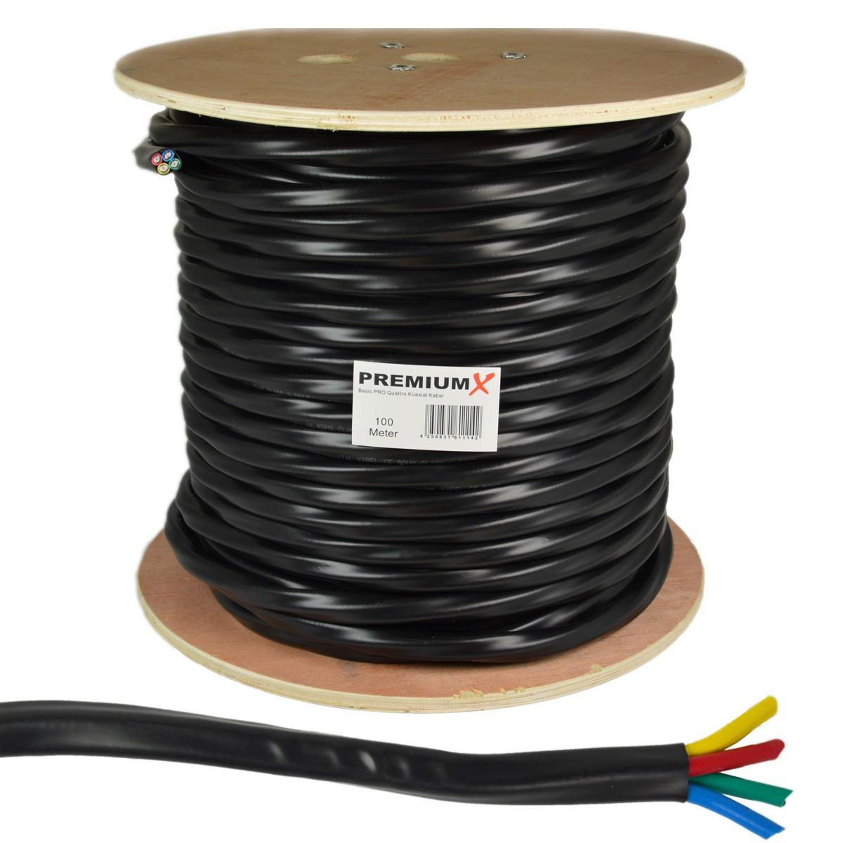 100m Antennenkabel 4-Fach für Quattro Quad Koaxial 4 in 1 Schwarz LNB Koax Kabel HDTV 3D