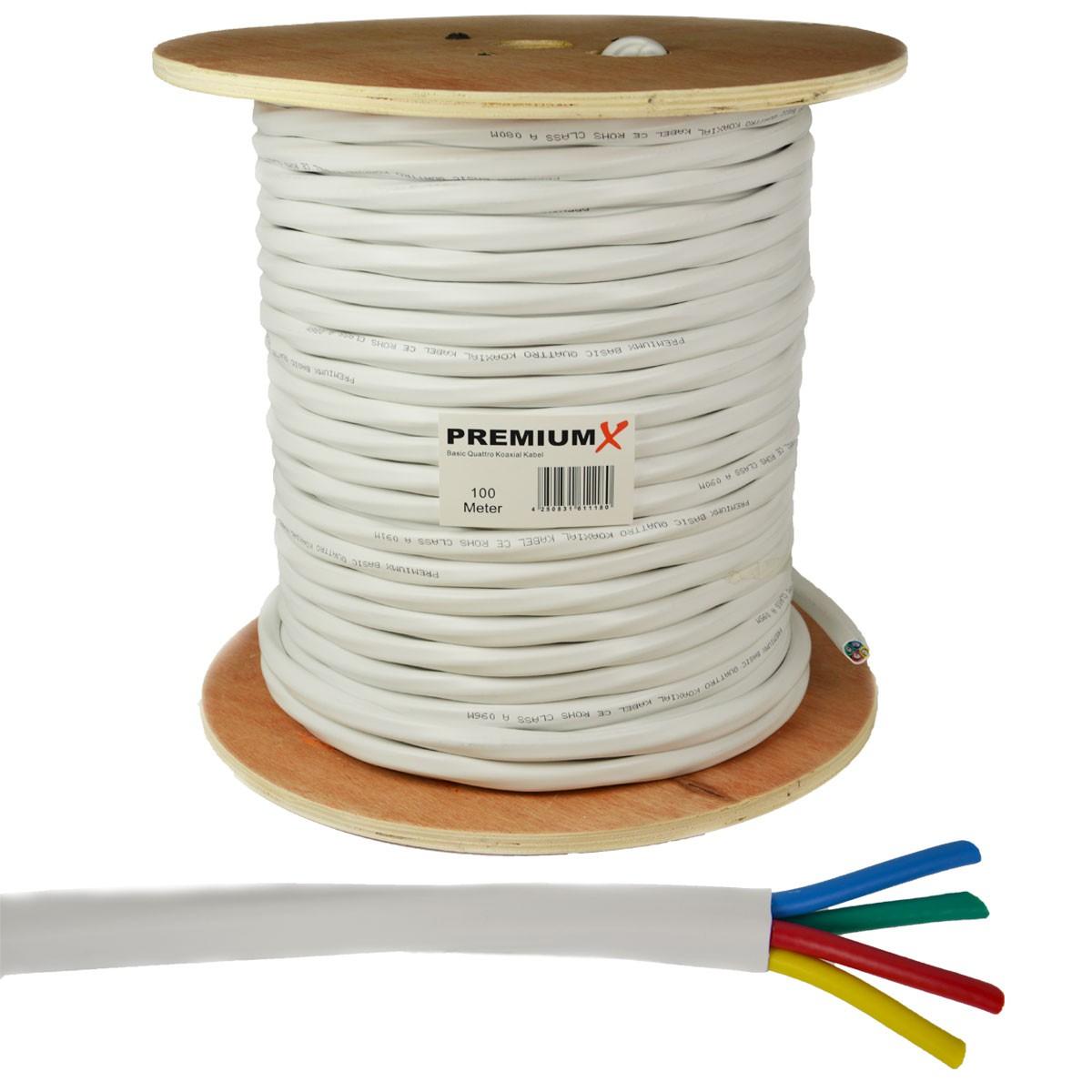 PremiumX 100m Quattro Koaxial Sat Kabel 90dB 2-Fach geschirmt Antennenkabel Quattrokabel HDTV