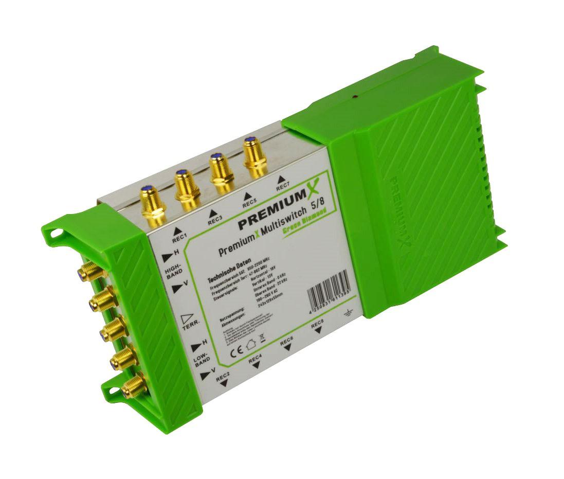 Multischalter PM-ECO 5/8 PremiumX Green Diamond Multiswitch mit Netzteil 1x Sat für 8 Teilnehmer FullHD HDTV UltraHD 4K Verteiler