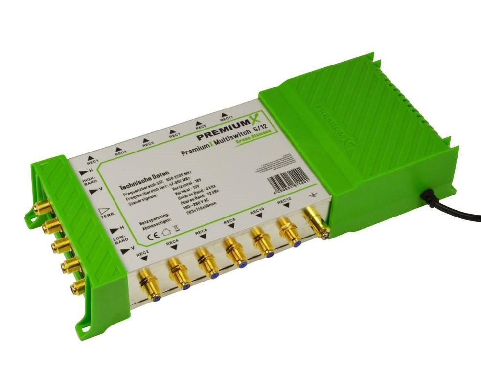 Multischalter PM-ECO 5/12 PremiumX Green Diamond Multiswitch mit Netzteil 1x Sat für 12 Teilnehmer FullHD HDTV UltraHD 4K Verteiler