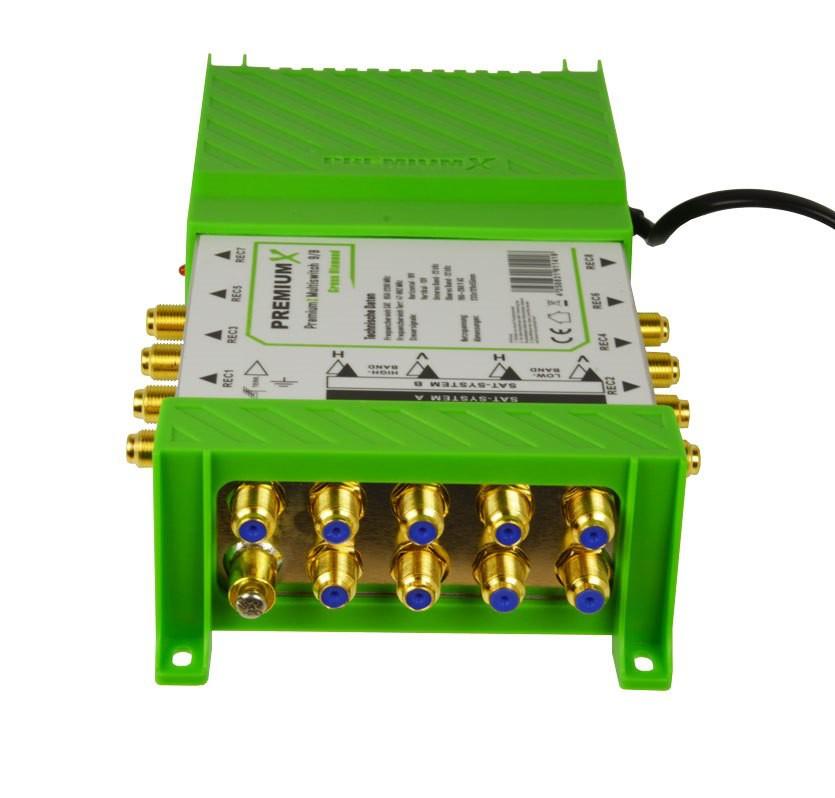 PremiumX PM-ECO 9/8 Green Diamond Multischalter Multiswitch mit Netzteil 2x SAT für 8 Teilnehmer FullHD HDTV UHD 4K Signal Verteiler 9-8