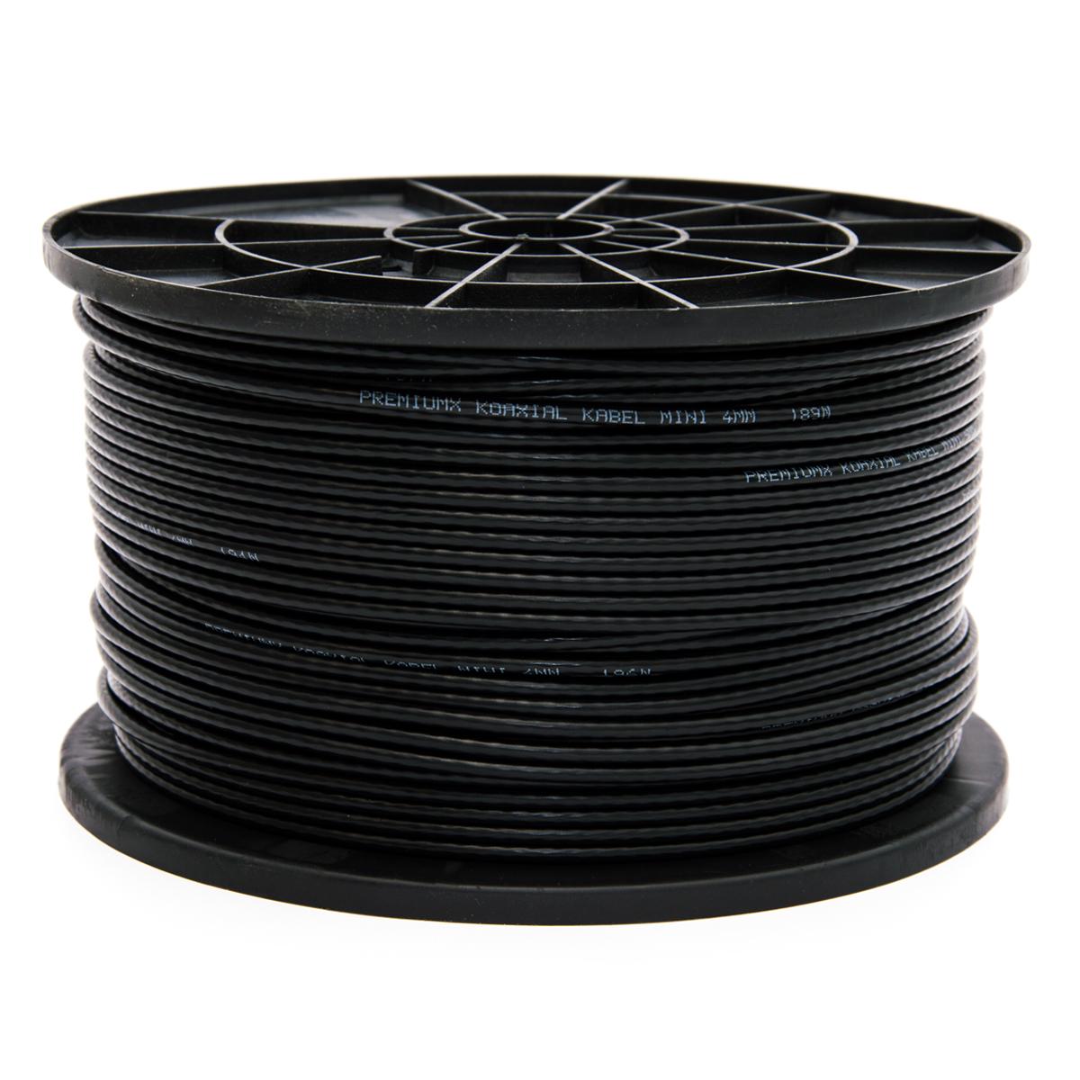 50m PremiumX Mini Koaxial Sat Kabel 4mm extra dünn Schwarz Koax Antennenkabel 2-fach geschirmt für Sat | Kabel | DVB-T – Ultra HD 4K 3D