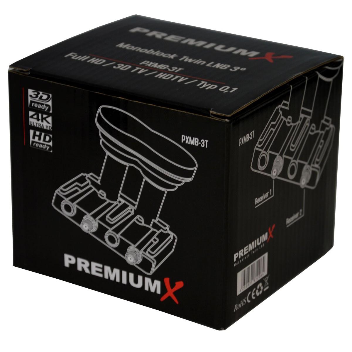 PremiumX Monoblock Twin LNB 3° PXMB-3T 0,1 dB Astra 19,2° Eutelsat 16° HDTV  FullHD UltraHD 4K 3D tauglich für 2 Teilnehmer