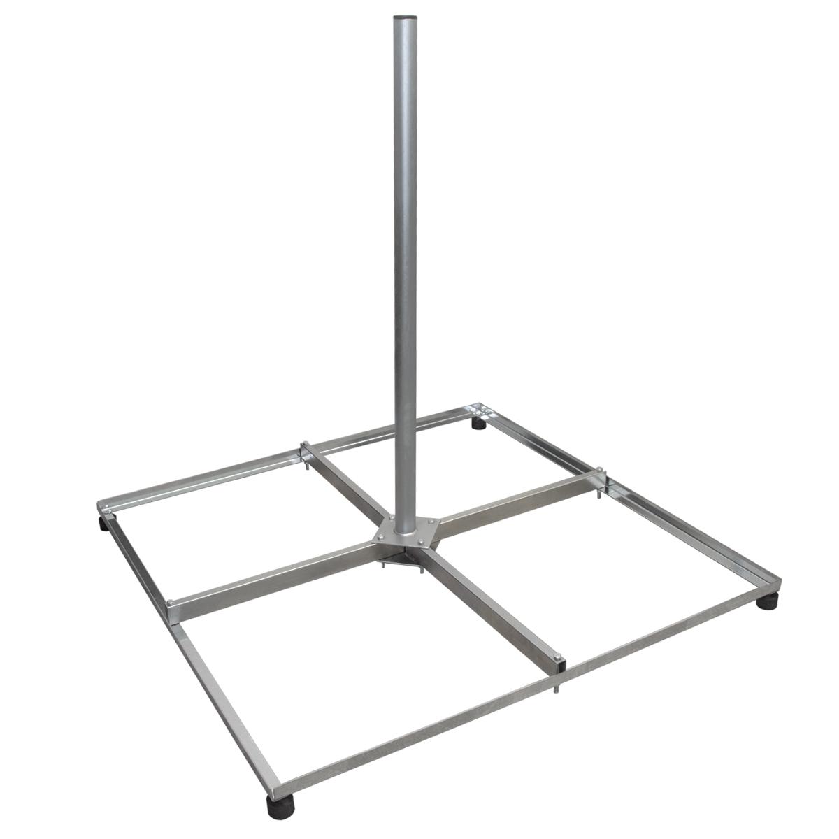 SkyRevolt Balkonständer Flachdachständer 4-fach Stahl 4x 50 X 50 Holland mit 1m Mast Verzinkt Terassenständer