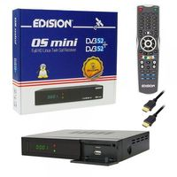 Edision OS mini Full HD Twin Satelliten-Receiver 2x DVB-S2 2x USB 2.0  LAN HDMI Linux Kartenleser WiFi Onboard inkl. HDMI Kabel