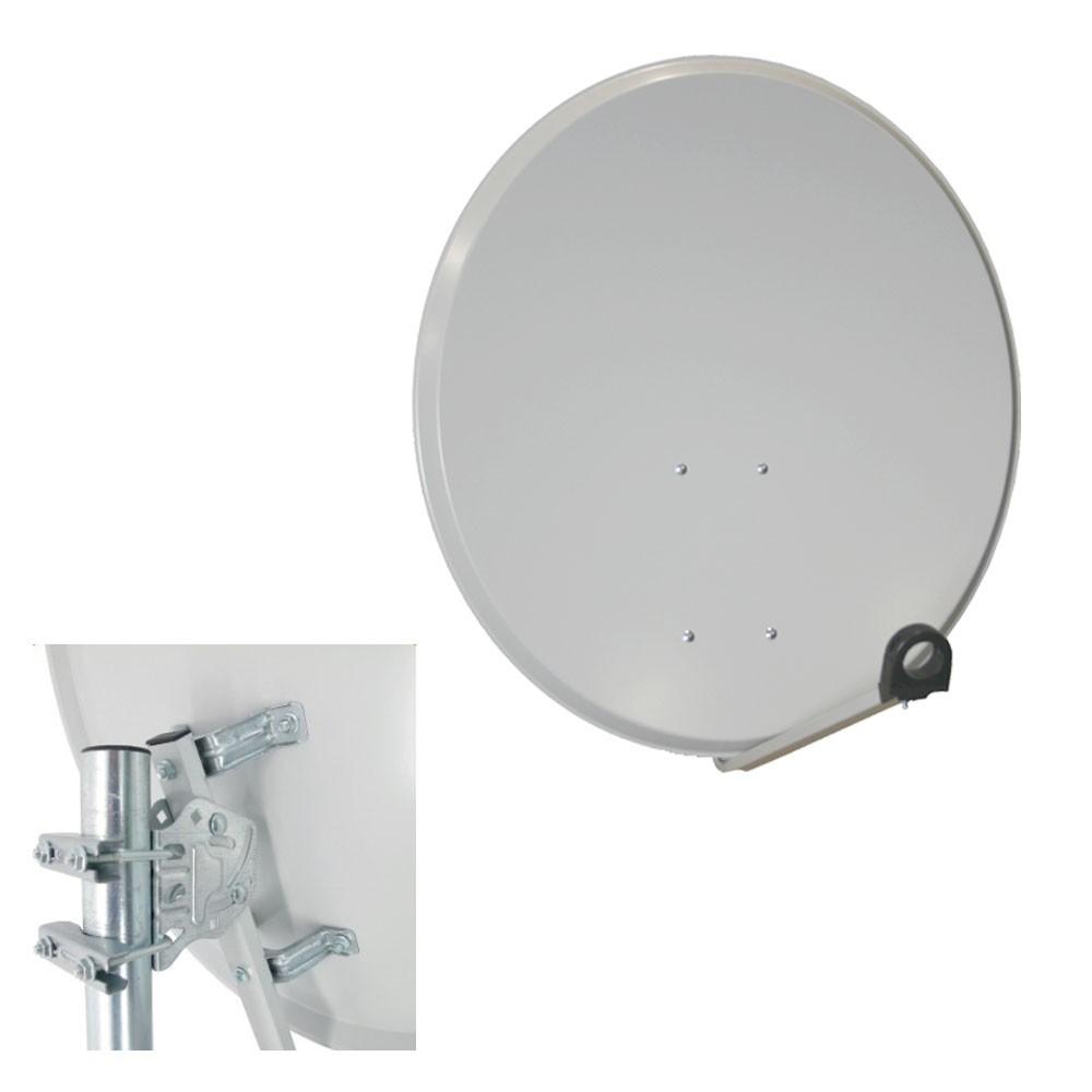 PremiumX Camping Sat Anlage 60cm Alu Hellgrau Antenne + Single LNB HDTV FullHD UltraHD 4K