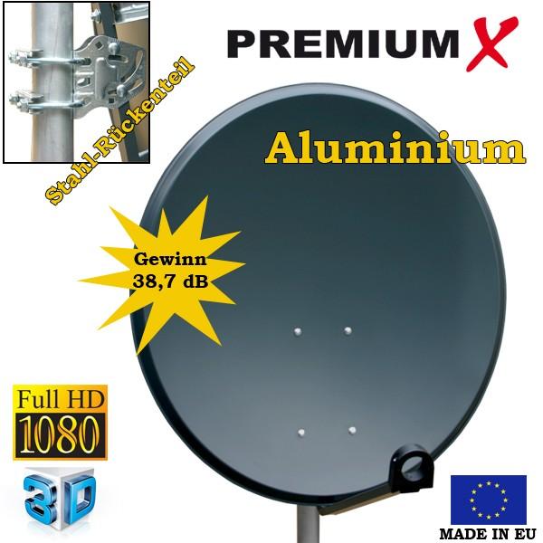 PremiumX SAT Anlage 80cm ALU Anthrazit mit Single LNB für 1 Teilnehmer UHD 4K