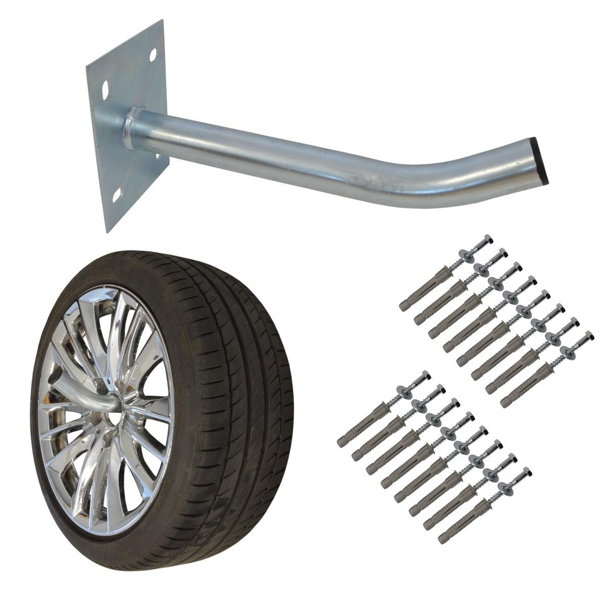 4x PremiumX Autoreifen Wandhalter 35cm Reifenhalter für Auto-Felgen Reifen Wandhalterung inkl. Montage-Schraubensatz