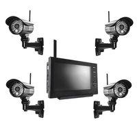 Videoüberwachungsanlage mit 4 Kameras und Monitor Funk Videoüberwachung Überwachungskamera Set kabellos