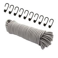 Expanderseil 30 m Grau 6 mm Gummiseil Gummischnur Spannseil Planenseil Gummileine elastisches Seil spannen und befestigen + 10 Spiralhaken Schwarz für ø 6 mm Expanderseil