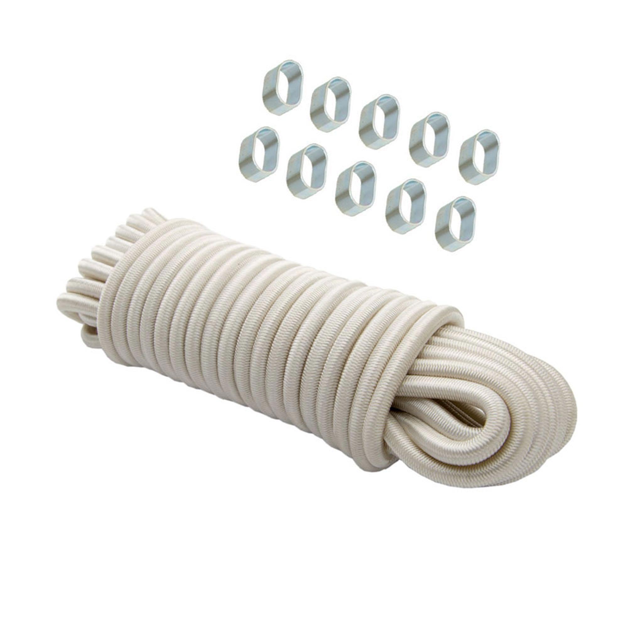 Expanderseil 20 m Weiß 8 mm Gummiseil Gummischnur Spannseil Planenseil + 10x Würgeklemmen 8 mm verzinkt