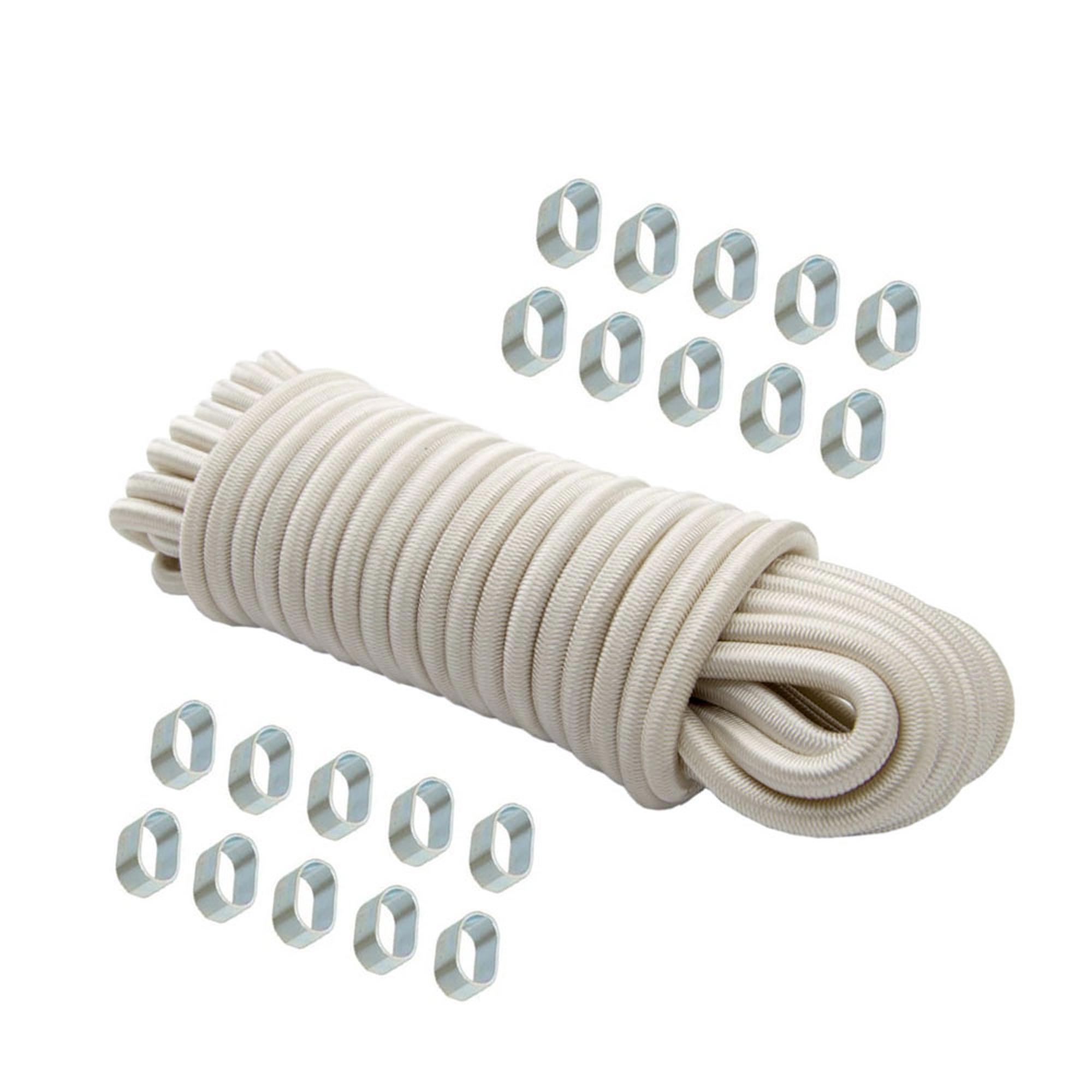 Expanderseil 20 m Weiß 10 mm Gummiseil Gummischnur Spannseil Planenseil + 20x Würgeklemmen 10mm verzinkt