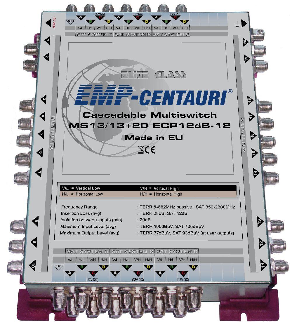 EMP Centauri Multischalter MS 13/13 + 20 ECP Kaskade 12dB-12